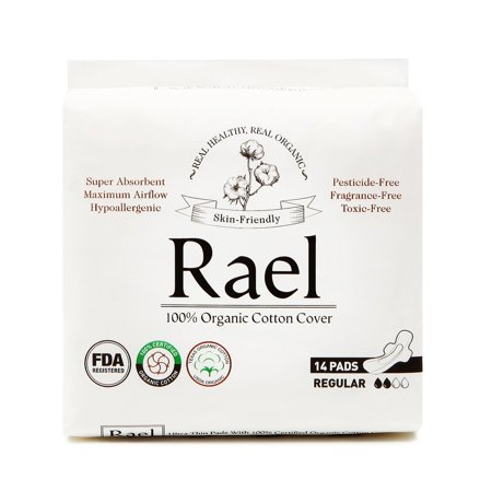 (2 Pack) Rael 100% Organic Cotton Pads with Wings, Regular Absorbency, 14
