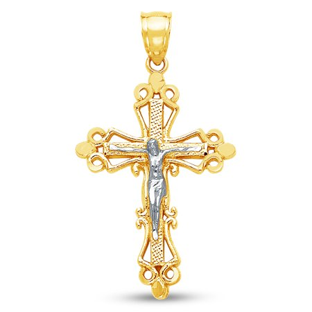 Ornate Crucifix - 14K Two 2 Tone Rose and Yellow Gold Milgrain Ornate Religious Catholic Gothic Crucifix Cross Pendant Charm (28x20 mm)