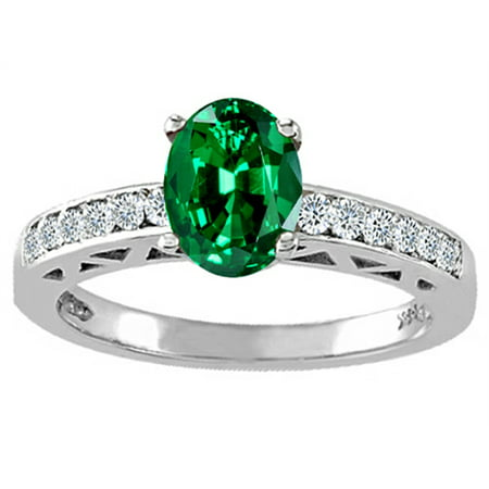 Tommaso Design Oval 8x6mm Simulated Emerald Solitaire Engagement Ring (Oval Emerald Solitaire Ring)