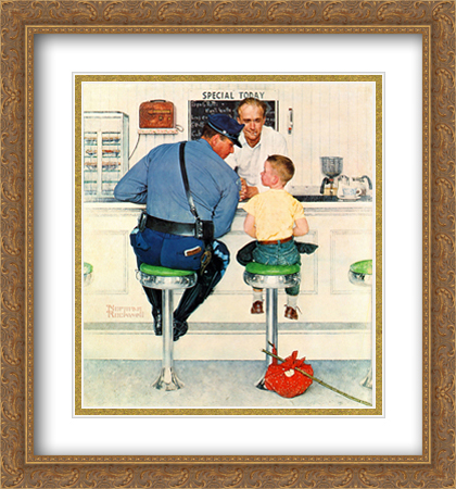 Norman Rockwell 2x Matted 28x30 Gold Ornate Large Framed Art Print 'The Runaway'