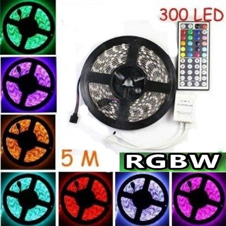 Lightahead RGBW 16.4 Feet 5 Meter IP65 Waterproof Flexible Strip Light Set with Remote 300 LEDs Color Changing RGBW SMD5050 LED Light Strip DC12V 60LEDs/M Flexible Lighting String Ribbon Tape