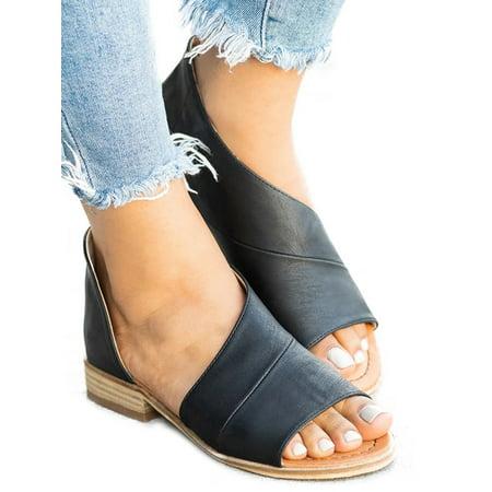 Womens Peep Toe Low Heel Sandals Ladies Summer Slip On Shoes Size](Womens Birkenstock Size Chart)