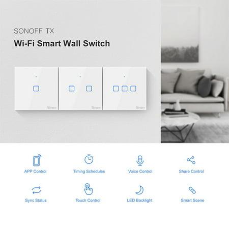 SONOFF T1UK2C-TX Interrupteur mural intelligent avec 2 groupes de touches WiFi 433Mhz RF Télécommande / APP / Minuterie de contrôle tactile - image 7 of 7