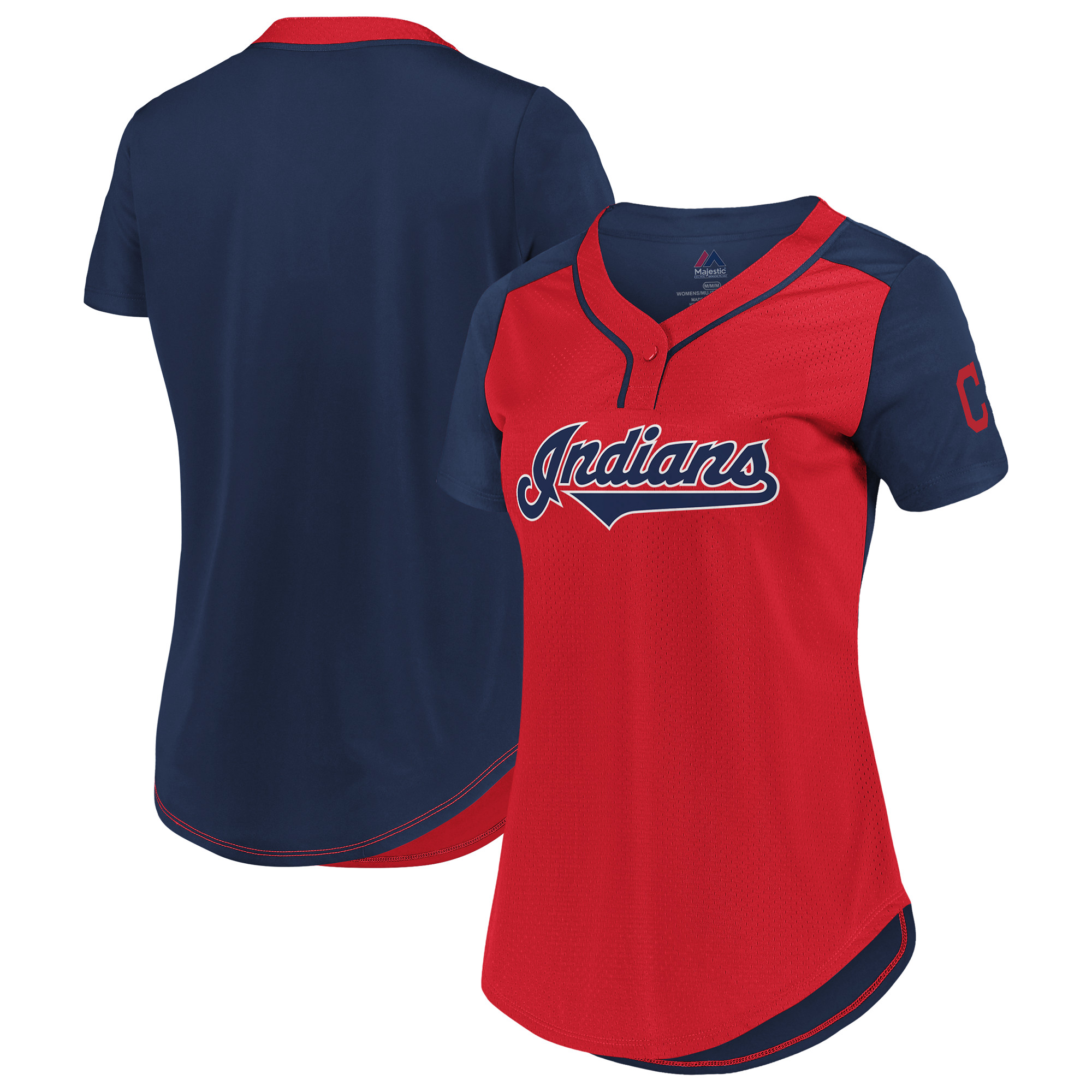 Cleveland Indians Majestic Women's League Diva Mesh T-Shirt - Red/Navy