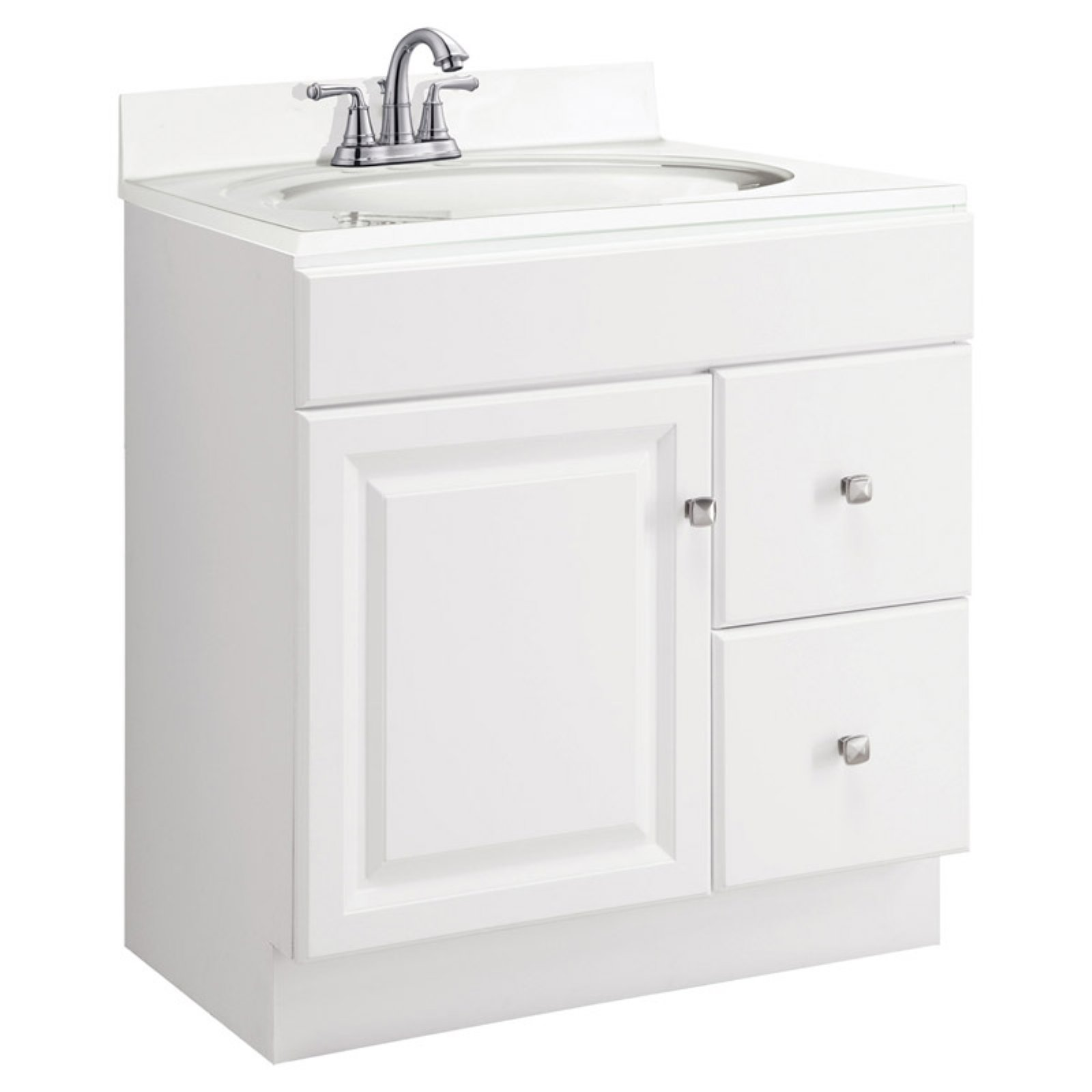 Design House 545079 Wyndham White Semi Gloss Vanity Cabinet With 1 Door And  2 Drawers