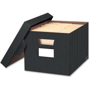 Bankers Box Stor/File Decorative Storage Box, Letter/Legal, Black/Grey, 4-Count