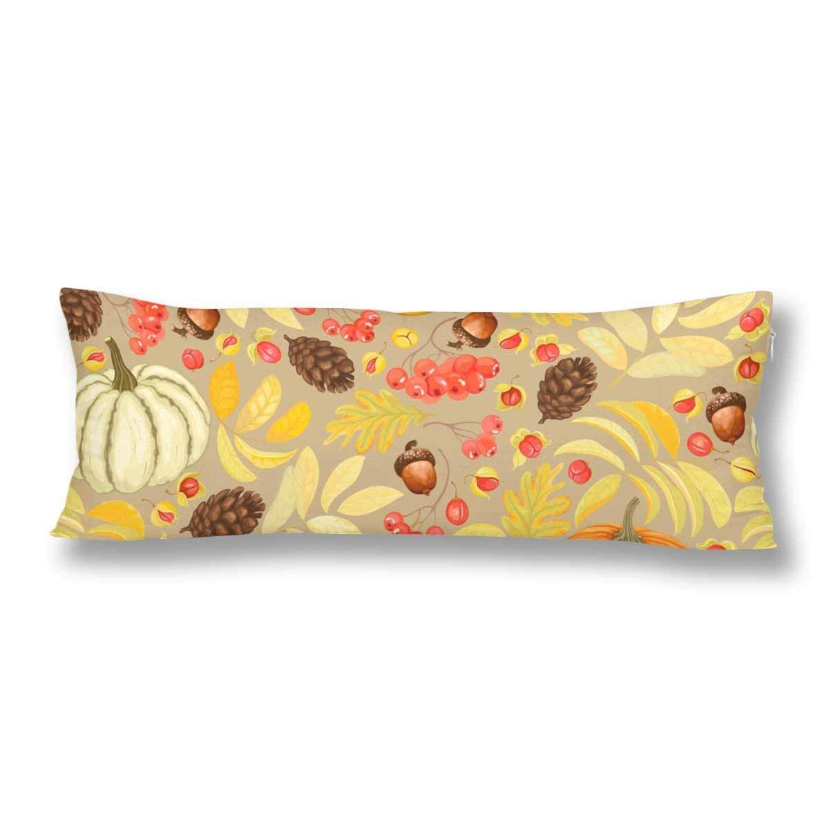 ABPHOTO Autumn Fall Harvest Pumpkin Acorns Body Pillow Covers Pillowcase 20x60 inch Pine Cones Rowan Body Pillow Case Protector