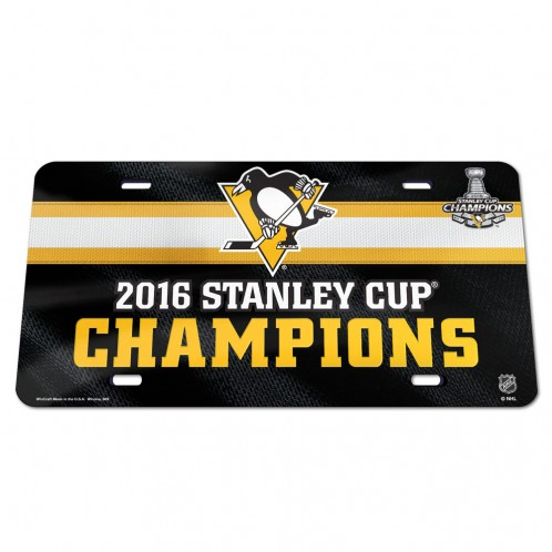 Pittsburgh Penguins 2016 Stanley Cup Champs Crystal Mirror License Plate Cover