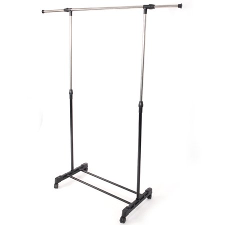 Zimtown Adjustable Rolling Clothes Rack Single-Bar Rail Hanging Garment Hanger Wheeled