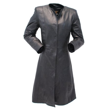 Collar Free Long Lambskin Leather Coat for Women #L1502398ZK