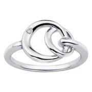 Boston Bay Diamonds  925 Sterling Silver .01ct TDW Diamond Accent Linked Circle Fashion Ring