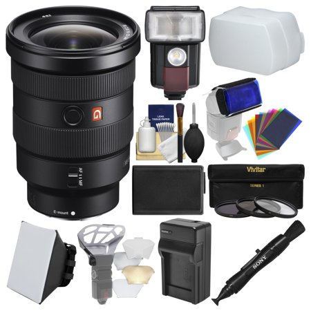 Sony Alpha E-Mount FE 16-35mm f/2.8 GM Zoom Lens with LED Light/Flash + Diffuser + Soft Box + Battery & Charger + 3 UV/CPL/ND8 Filters