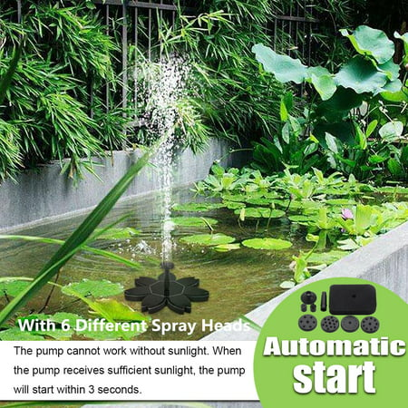 190L/H 7V 1.5W Automatic Solar Fountain Pump Water Pump Kit w/ 6 Different Spray Heads Solar Panel Powered Floating Panel Pump Lotus Leaf Shape Garden Landscape Pool Plants Pond