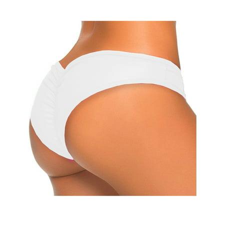 Ruched Back Bottom (SAYFUT Sexy Women's Itsy Back Ruched Thong Bikini Bottoms Brazilian Swimsuit Swimwear Beachwear Bathing Cheeky Panty )