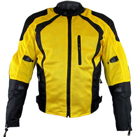Xelement XS3025 Cyclone Mens Black/Yellow Mesh Tri-Tex Armored Motorcycle Jacke