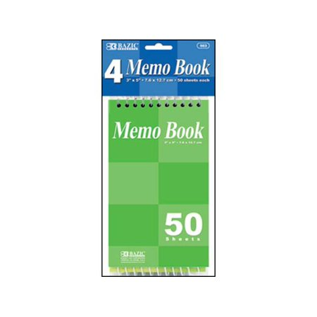Bazic Memo Book Top Bound Spiral 3x5 4pc
