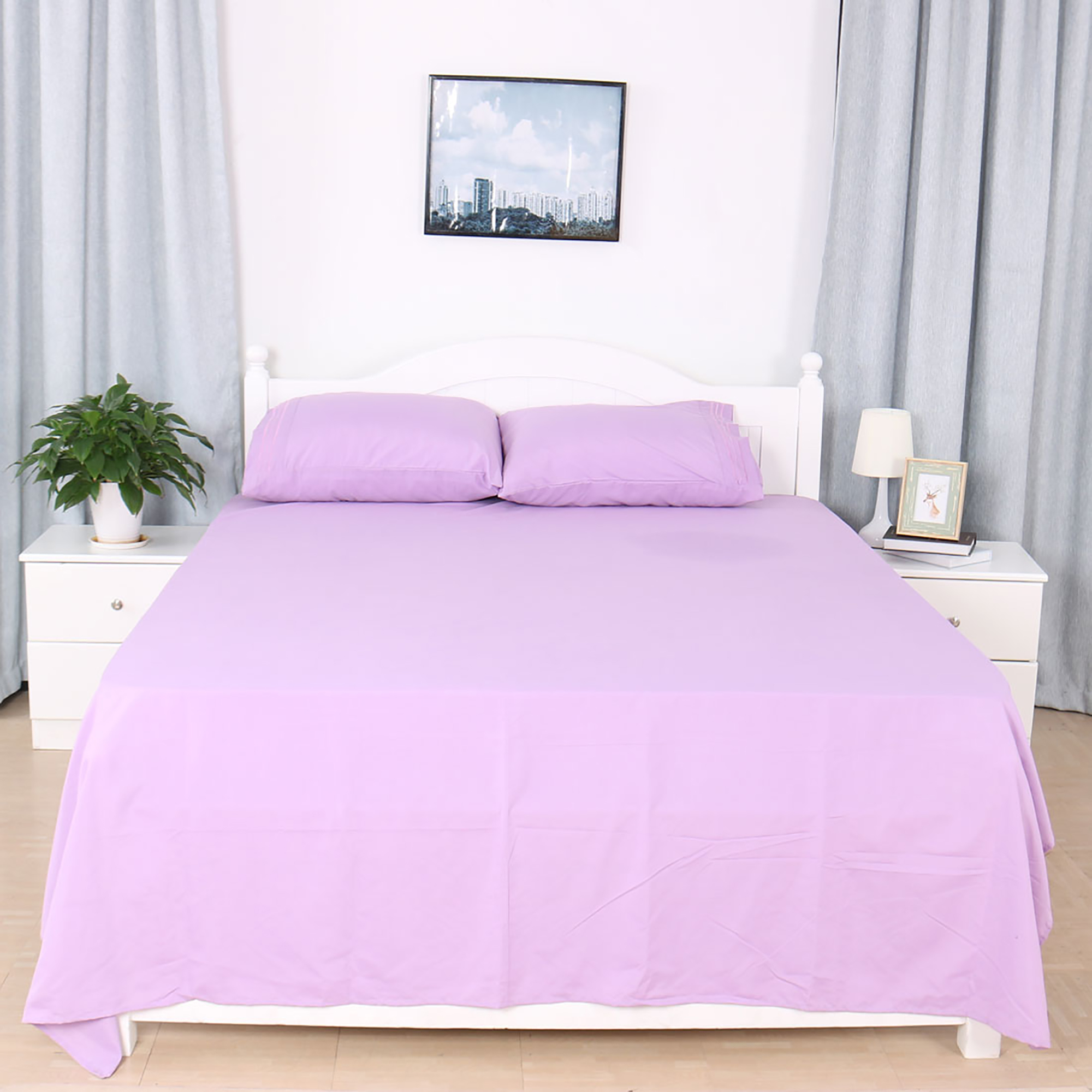 Piccocasa 1800tc Microfiber Pillowcases Flat And Fitted Sheet Bedding Set Light Purple Twin Walmart Com Walmart Com