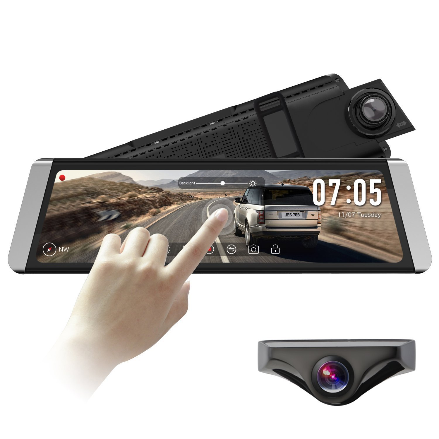 9.88'' 1296P FHD Full Touch Screen Stream Media Dual Lens Mirror Dash Cam with AHD Rear View Backup Camera kit with Auto Brightness,WDR,LDWS,GPS Tracking Playback