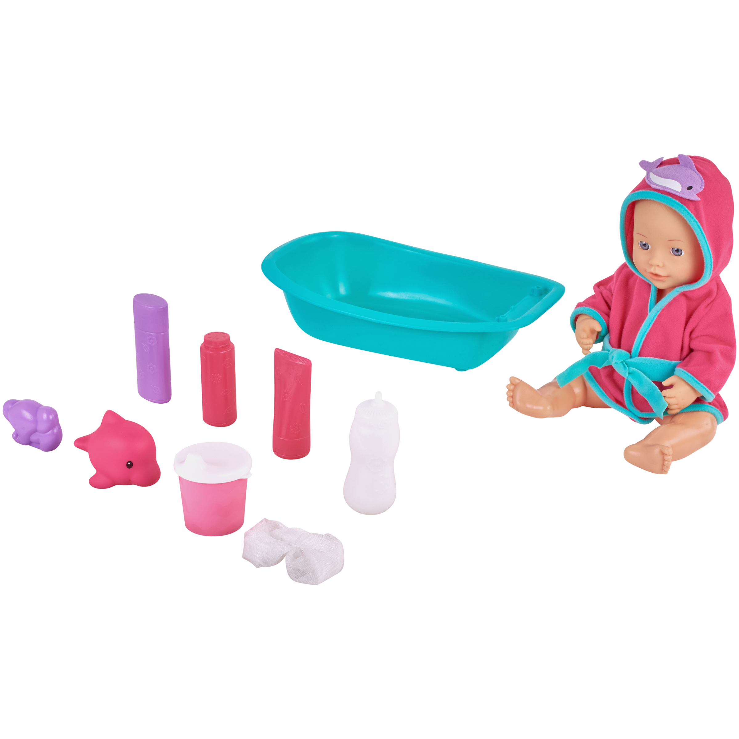 Kid connection 10-piece bathing baby doll set, purple, teal & pink