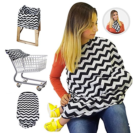 Nursing Breastfeeding Cover / Scarf + Baby Car Seat Cover / Canopy + Shopping Cart / Stroller Cover + High Chair Cover for Infant Girls and Boys. Best 4 in 1 Multi Use Stretchy Covers (Black Chevron)