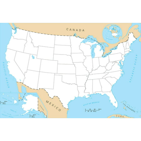 Laminated Poster Blank United States Map Glossy Poster Banner North America  Us Poster Print 24 x 36