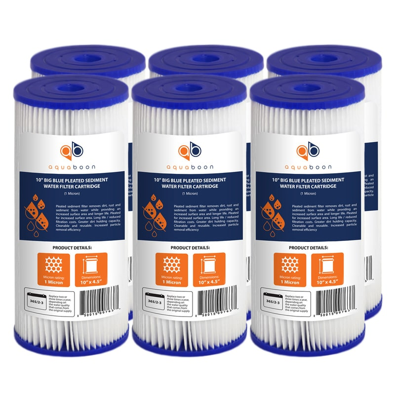 "6PK of Big Blue Whole House 1 Micron Pleated Washable Sediment Water Filter 10""x4.5"" by Aquaboon"