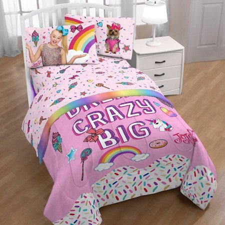 Jojo Siwa Twin Comforter And Sheet Set With Jojo Unicorn Pillow