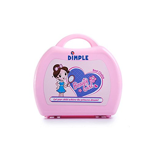 Dimple On-The-Go Pink Toy Beauty Set with Hair-Dryer, Brushes, Makeup, Travel Case and More (22 Piece)
