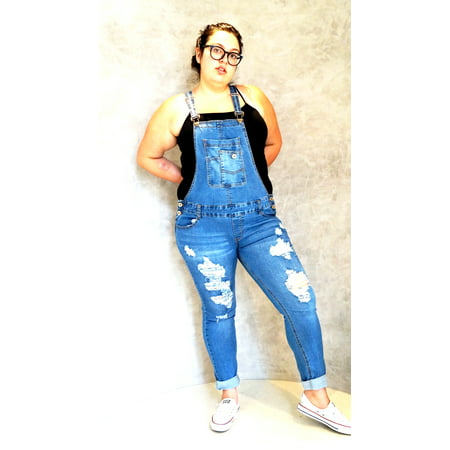 Women's Plus Size Camouflage/ BLUE/BLACK Overalls Distressed Jeans Stretch (Best Jeans For Size 14 Curvy)