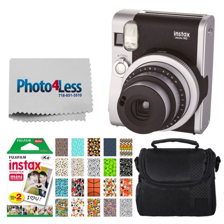 Fujifilm INSTAX Mini 90 Neo Classic Instant Camera (Black) + Fujifilm Instax Mini 20 Pack Instant Film (20 Exposures) + Compact Camera Case + Sticker Frames Sports Package + Photo4Less Cleaning Cloth