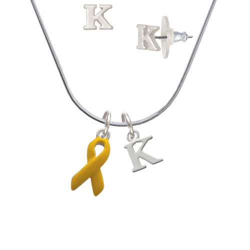 Yellow Ribbon - K Initial Charm Necklace and Stud Earrings Jewelry Set