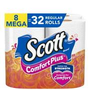 Scott ComfortPlus Toilet Paper, 8 Mega Toilet Paper Rolls, Bath Tissue
