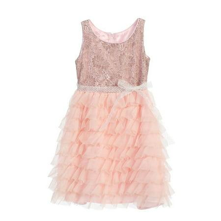 Angels Garment Little Girls Pink Lace Ruffle Mesh Easter Spring Dress 2T-6 - Spring Dresses Girls