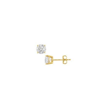 2 Carat Cubic Zirconia Stud earrings in 18K Yellow Gold Vermeil Sterling Silver - image 3 de 3