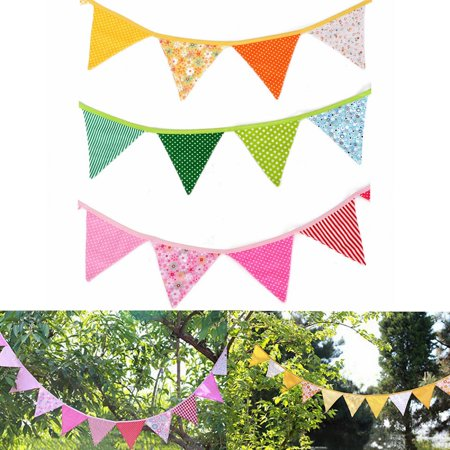 Custom Made Party Banners (Meigar 240cm/94'' Fabric Flag Party Banner ,Handmade Pennant Bunting Birthday Wedding  Party)