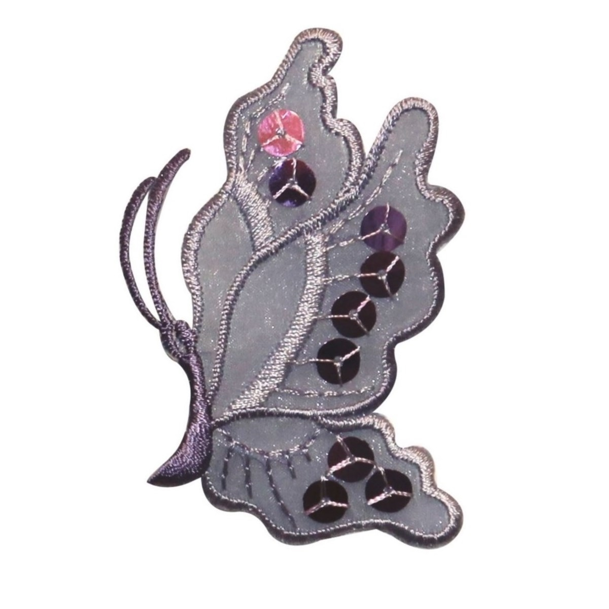 ID 2044 Butterfly Side View Patch Fairy Insect Sequin Emblem Iron On Applique