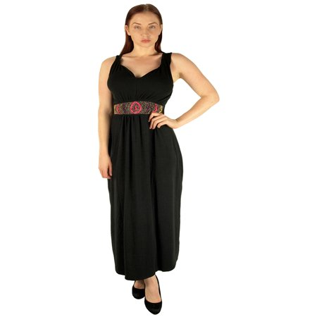 Women\'s Plus Size Maxi Dress with Colorful Decorative Beaded Half Belt 4X  5X 6X