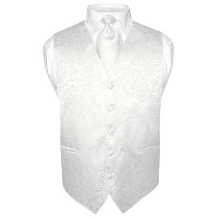 Men S Paisley Design Dress Vest Necktie Off White Cream Color Neck