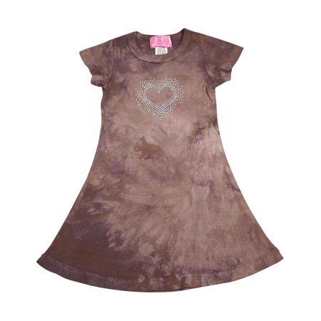 Glitter Girl - Little Girls Short Sleeve Tie Dye Dress brown tie dye / 2
