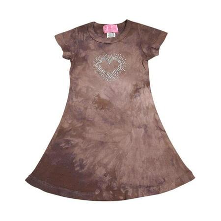 Glitter Girl - Little Girls Short Sleeve Tie Dye Dress brown tie dye / 2 (Glitter Girl And The Crazy Cheese)