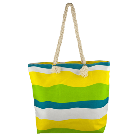 Lux Accessories Lux Accessories Womens Zip Up Beach Bag Yellow Mix - Kids Beach Bags