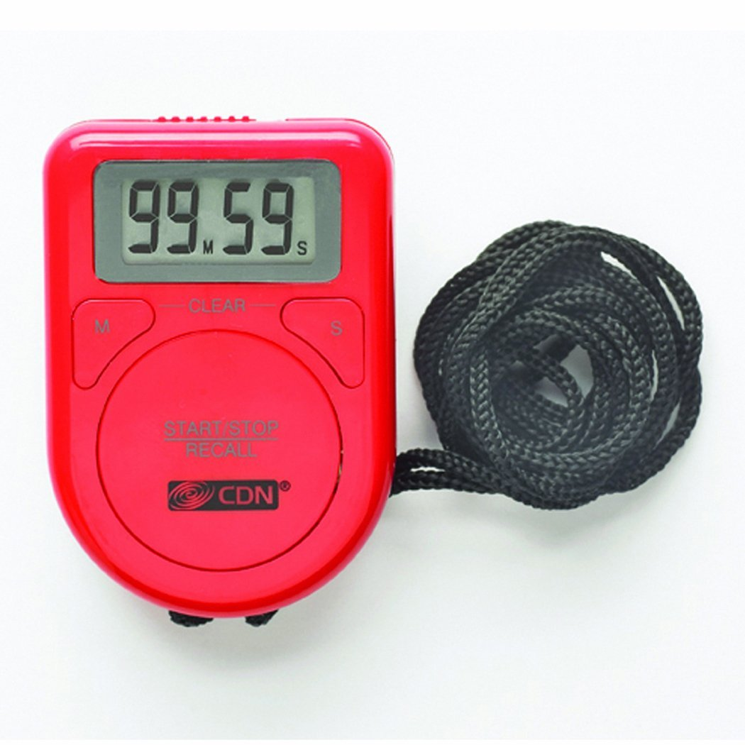CDN Red Digital Timer w/ Rope, LCD Screen For Kitchen/Cooking Count Up Or Down