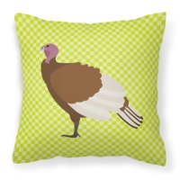 Bourbon Red Turkey Hen Green Fabric Decorative Pillow BB7808PW1818