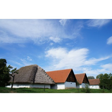 Canvas Print Blue Sky Clouds Houses The Countryside Village Stretched Canvas 10 x - St Cloud Village