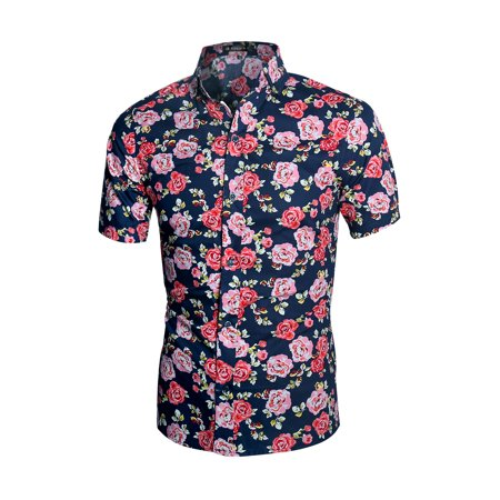 Men's Button Up Allover Floral Shirt (S/s Button Up Shirt)