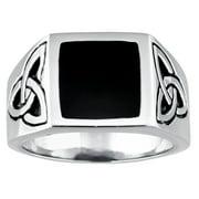 Stainless Steel Celtic Knot Ring Black Resin Center