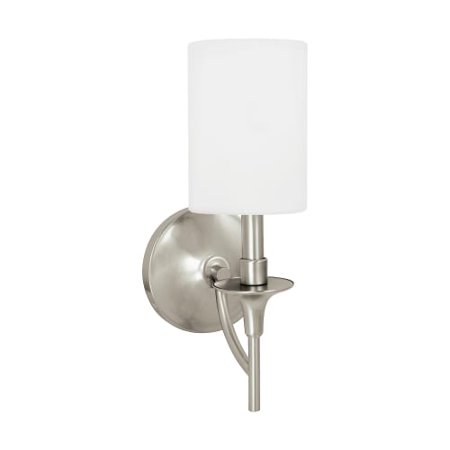 Sea Gull Lighting Stirling - One Light Wall Sconce, Brushed Nickel Finish with White Linen Fabric (962 Stirling 1 Light)