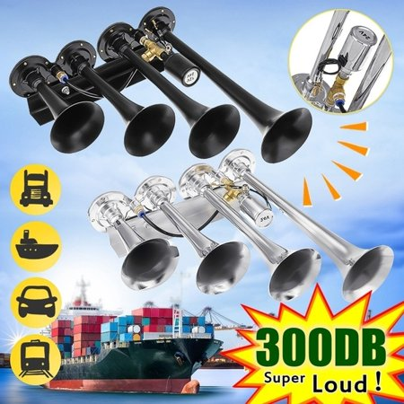 12V/24V 300DB Super Loud 4 Trumpets Car Air Horn Tone Compressor Kit Silver / Black for Car Truck Train Boat (Horn Brillengestelle)