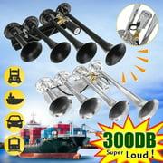 12V/24V 300DB Super Loud 4 Trumpets Car Air Horn Tone Compressor Kit Silver / Black for Car Truck Train Boat