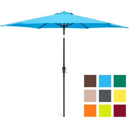7' Oriental Umbrella - Best Choice Products 10-foot Outdoor Table Compatible Steel Polyester Market Patio Umbrella with Crank and Easy Push Button Tilt, Blue